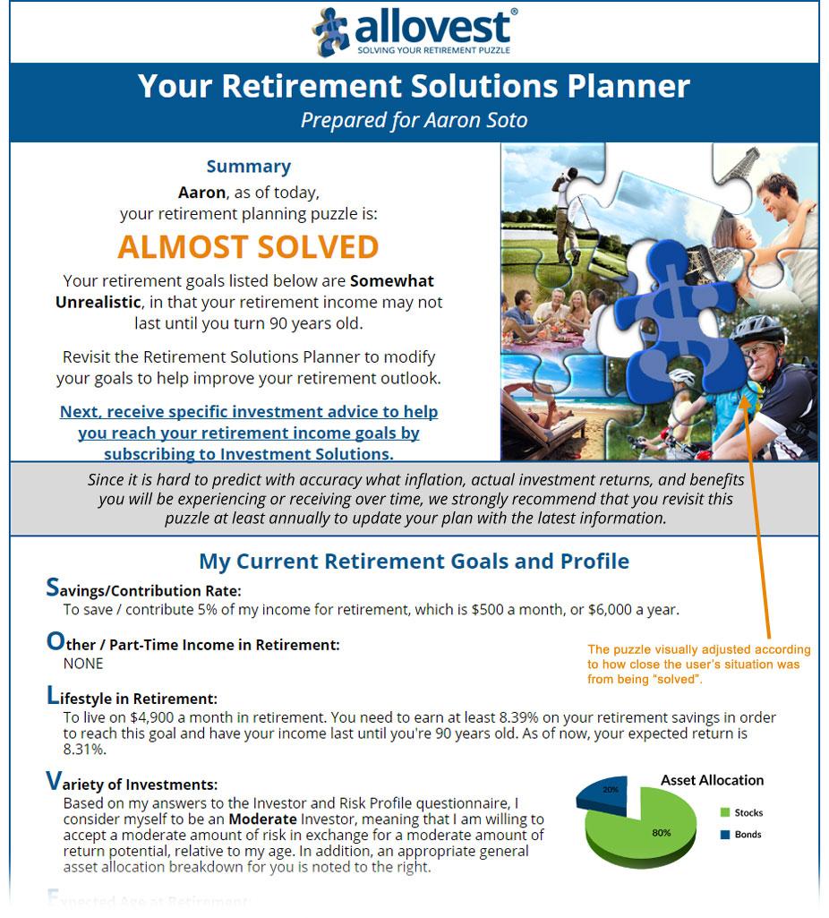 Allovest Strategic Report: Retirement Solutions Planner