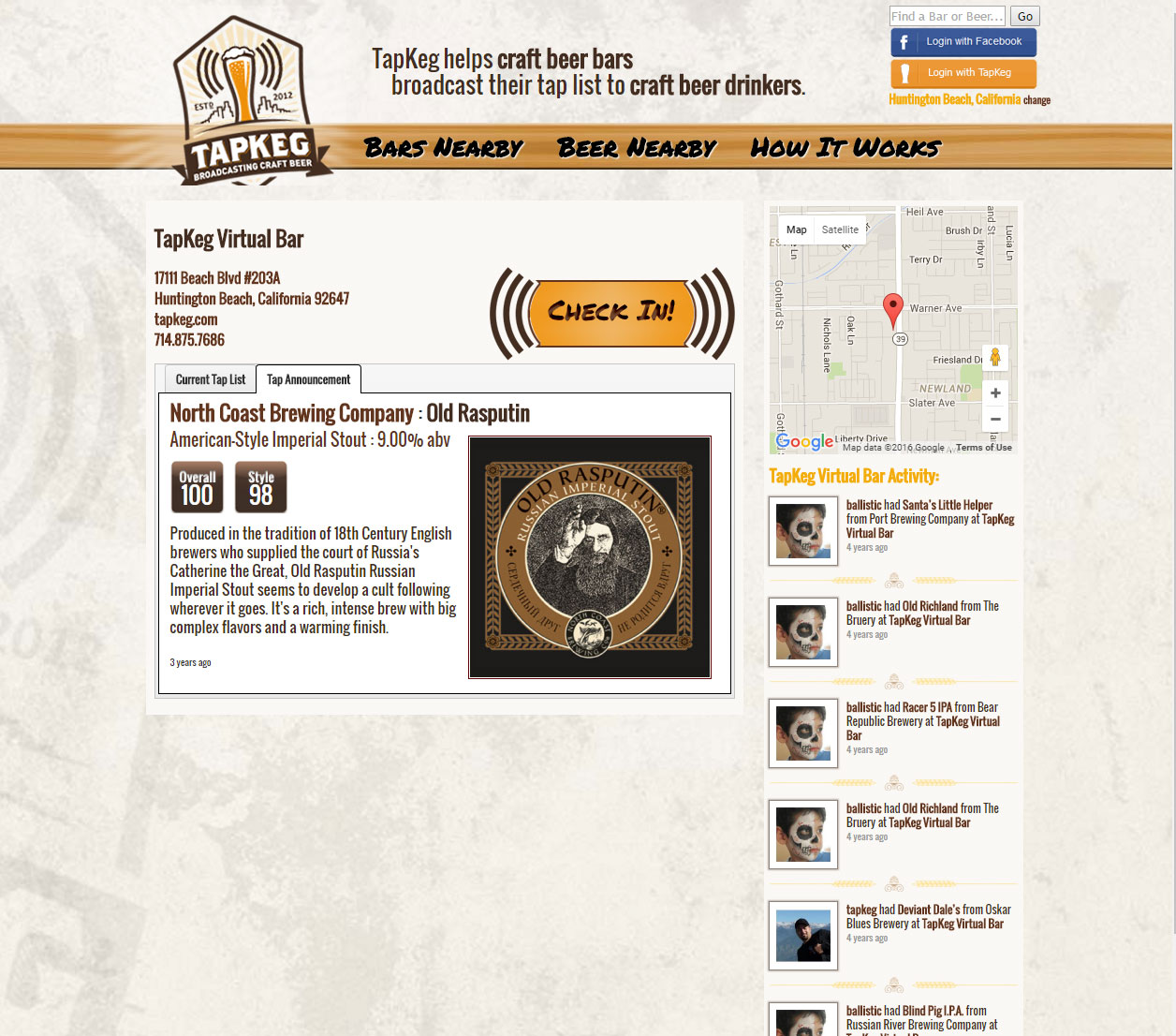TapKeg: Beer Page
